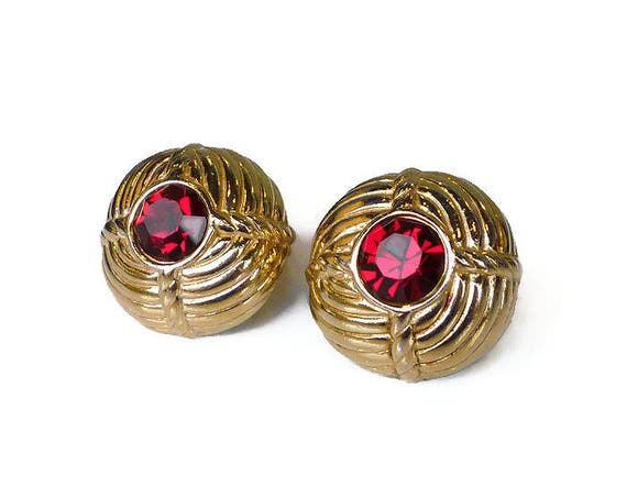 Ciner Gold Tone Red Rhinestone Earrings - Red Rhinestones, Headlight Rhinestone, Gold Tone,  Ribbed Round, Ciner Jewelry, Vintage Earrings