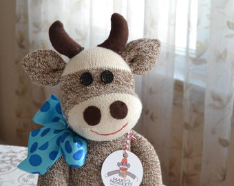 Sock Monkey Cow,  Personalization Option, Choice of Ribbon Color