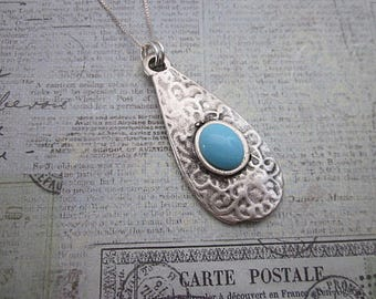 Blue Teardrop Necklace -- Light Blue and Silver Necklace -- Glass Dot Necklace -- Spot Necklace -- Light Blue Drop Necklace -- Blue Necklace