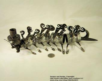 Welded Steel Steampunk Caterpillar Sculpture