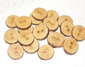 """Small 20 Handmade plum wood Tree Branch Buttons with Bark, accessories (0,87'' diameter x 0,16"""" thick)"""