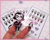 Planner Stickers Gothie Dolly  Mini Sticker Sheet with 17 Kiss Cut Glossy Stickers  Gothic Doll Dolly Stickers Dolly Love