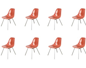 1960s Eames Terracotta Fiberglass Shell Chairs for Herman Miller