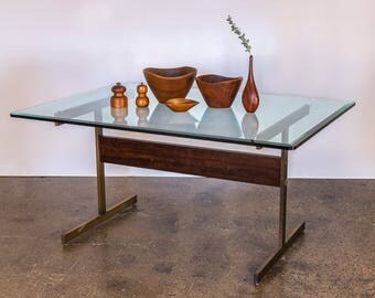 Milo Baughman Glass Table on Brass Pedestal Base with Rosewood Beam