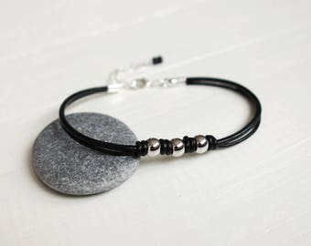 Black leather bracelet knotted leather bracelet metal beads black leather cords bracelet for men for women
