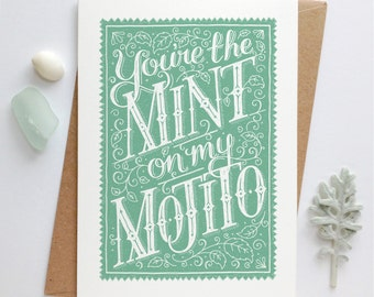 Mojito Cocktail Card   Mojito Card   Cocktail Card   Valentines Card   Valentine Card   Love Card   Anniversary Card   Cocktail drink card