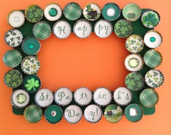 St Patrick's Day bottle cap picture frame
