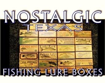 Texas Lakes Fishing Lure Boxes Cabin Decor ...ANY TEXAS LAKE