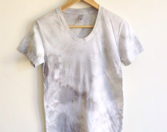 Gray and White Hand Dyed Tee - Large