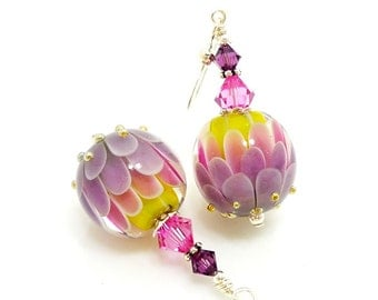 Purple Pink Yellow Lotus Flower Earrings, Lampwork Earrings, Glass Bead Earrings, Unique Earrings, Glass Art Earrings, Dangle Earrings