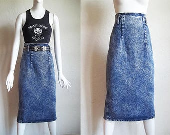 Vintage 80s Grunge ZENA Acid Wash Denim High Waist Midi Pencil Skirt Sz S