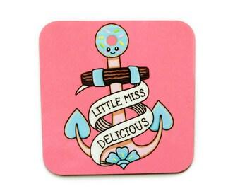 Kawaii Anchor Coaster, cute coaster, gift for her, teen gift, anchor tattoo coaster, cute tattoo, pink square coaster, cute home decor