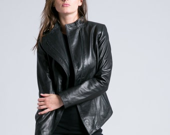 Genuine Leather Jacket / Leather Blazer / Cropped Jacket / Trench Coat / Fitted Jacket / marcellamoda - MC771
