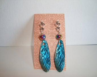 DragonFly Wing Earrings, Czech Bead Accent,  Artisan Earrings, Gypsy Earrings, Dangle Earrings, Long Drop Earrings, BOHO earrings