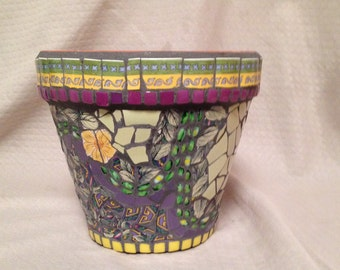 Broken China Mosaic Pot in Green, Purple, and Yellow