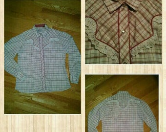 Vintage Shirt - Kenny Rogers Western Collection by Karman - Plaid with Ruffles