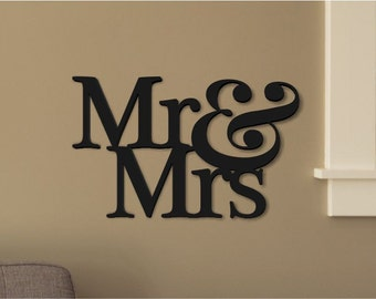 Mr And Mrs Word Art Wood 3D Cutout by MRC Wood Products