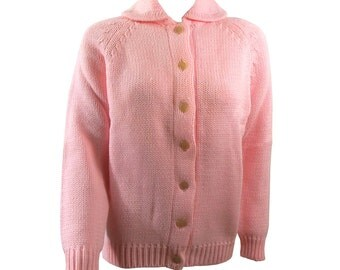 Vintage BubbleGum Pink Cardigan winter Sweater Size Medium Hand Loomed
