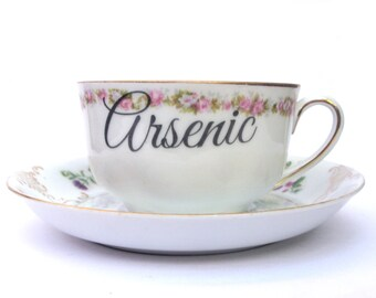 Arsenic Poison Altered Vintage Teacup and Saucer