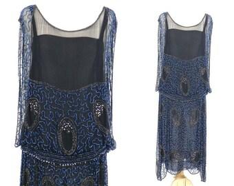 1920s Flapper Dress, 20s Dress, Art Deco Dress, Beaded Dress, Great Gatsby Dress, Silk Jazz Age Dress