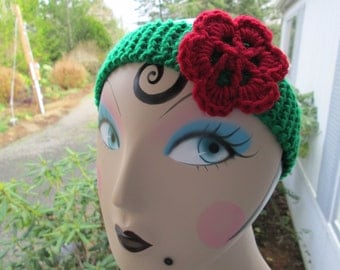 Girl's Red Flowered Headband Knitted by SuzannesStitches, Girl's Flowered Headbands, Teen Flowered Headbands, Baby Girl Flowered Headband