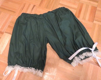 """Green and cream lace Cotton Bloomers, one size up to 64"""" with an elastic waist , 17"""" long"""