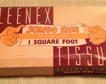 Vintage Kleenex Elephant Jumbo Size Serv A Box Unused Advertising Old Store Stock RARE