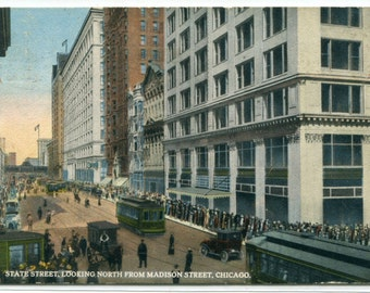 State Street North From Madison Chicago Illinois 1916 postcard