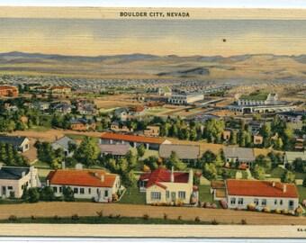 Boulder City Nevada Panorama linen postcard