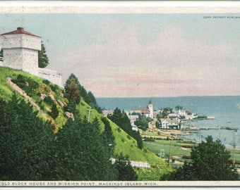 Old Block House Mission Point Mackinac Island Michigan 1915 postcard