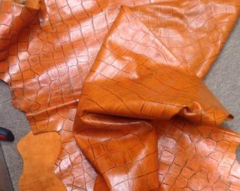 M318.  Orange Embossed Reptile Leather Cowhide Partial