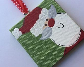 Personalized Santa Canvas Ornament - green