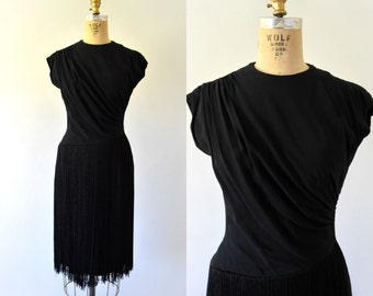 1950s Vintage Dress - 50s Black Rayon Fringe Cocktail Dress