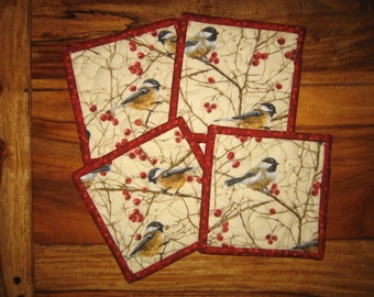 "Fabric coasters, Mountain Chickadees, 5 x 5"", Quilted, 100% cotton fabrics"