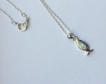 Created Opal Christian Fish, Created Opal and Sterling Silver, Christian necklace, Christian Fish, Sterling Silver necklace, Fish Necklace