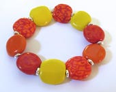 Beaded Bracelet, Kazuri Bangle, Fair Trade, Ceramic Jewellery, Red Orange and Yellow Bangle