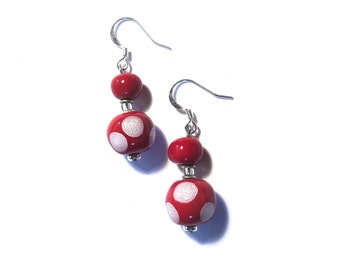 Kazuri Earrings, Red and White Spotted Ceramic Earrings
