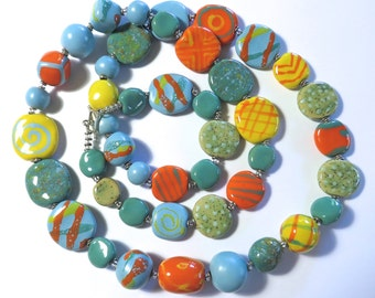 Blue, Spearmint Green, Orange and Yellow Beaded Necklace, Ceramic Jewelry, Kazuri Bead Necklace
