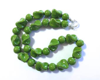 Kazuri Beaded Necklace, Fair Trade, Green Ceramic Necklace