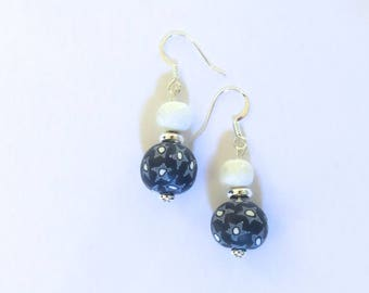Navy Blue and White Samunnat and Kazuri Bead Earrings