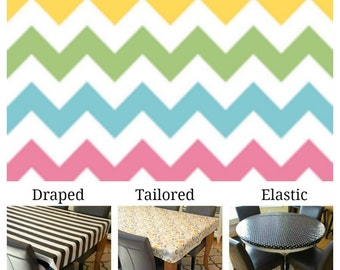 Laminated cotton aka oilcloth tablecloth custom size and fit choose elastic, tailored, or draped, aqua hot pink green yellow white chevron