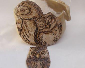 Owl Yarn bowl, Stoneware Ceramic Yarn Bowl, Owl Button