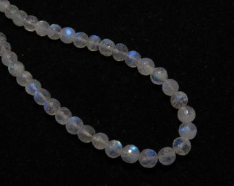 Rainbow Moonstone - AAA - High Quality - So Gorgeous Micro Cut Round Ball Beads Nice Blue Flashy Fire size 5.5  mm 8 inches  - 37 pcs