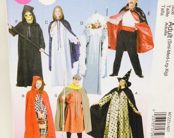Uncut, Adult McCalls Costumes Sewing Pattern M7225, Cape and Tunic Costume, Wizard, Grim Reeper, Magician, Medieval, Red Riding Hood