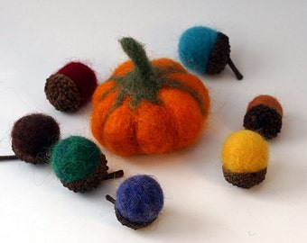 "Needle Felted Felt Pumpkin Acorns Wool Acorn Tops Pumpkin Size Approx. 2"" x 2"""