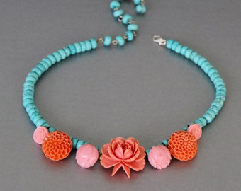 Carved Coral Perfection, Turquoise Necklace made from Vintage Earrings