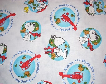 Snoopy - Flying Ace on white - 15 inches wide and sold by the yard