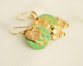 Gold Drop Earrings, Filigree Earrings, Coin Jewelry