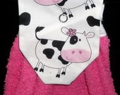 Hanging Kitchen Towels - Pink Towel with Cow