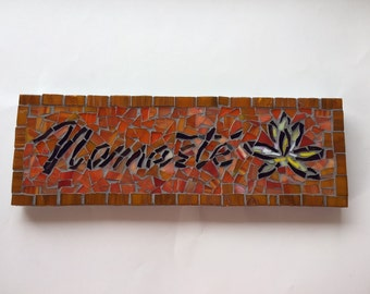 Namaste Mosaic sign with Lotus -stained glass-tile